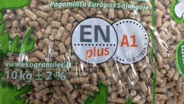 Nauja lengvesnė 10 kg. medžio pjuvenų granulių pakuotė