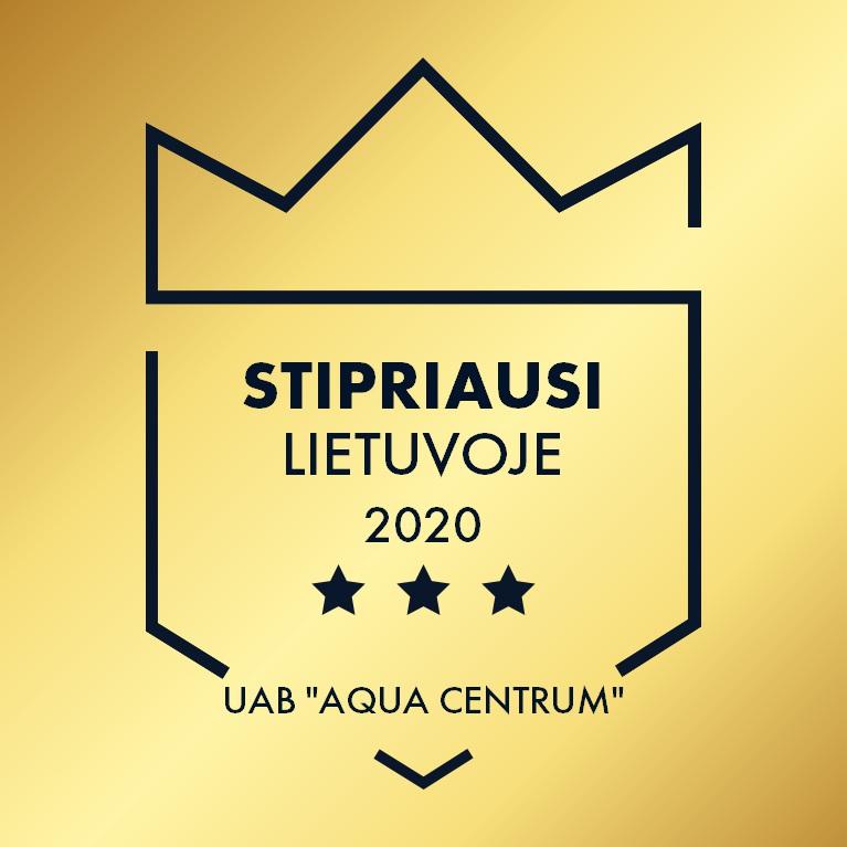 """UAB AQUA CENTRUM įvertinta sertifikatu """"Stipriausi Lietuvoje"""" 2020 m."""